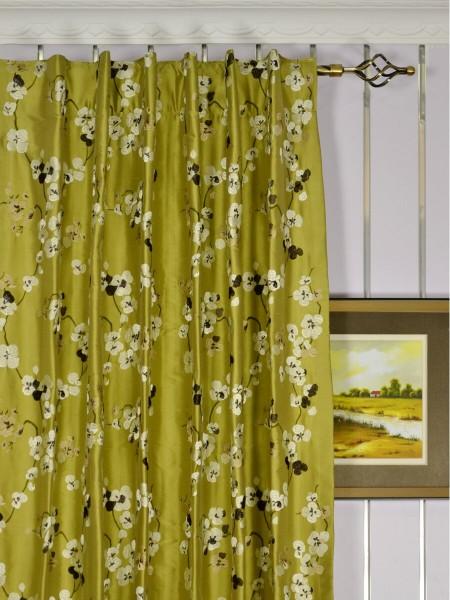 Halo Embroidered Four-leaf Clovers Dupioni Silk Custom Made Curtains (Heading: Back Tab)