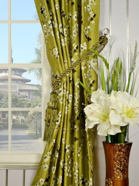 Halo Embroidered Four-leaf Clovers Back Tab Dupioni Silk Curtains Tassel Tiebacks