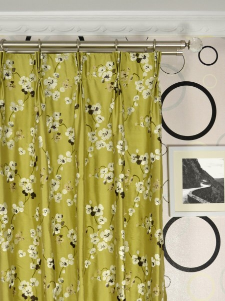 Halo Embroidered Four-leaf Clovers Triple Pinch Pleat Dupioni Silk Curtains Heading Style