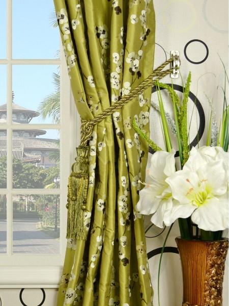 Halo Embroidered Four-leaf Clovers Triple Pinch Pleat Dupioni Silk Curtains Tassel Tiebacks