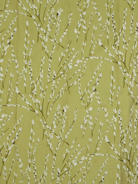 Halo Trendy Embroidered Plants Triple Pinch Pleat Dupioni Silk Curtains (Color: Olive)