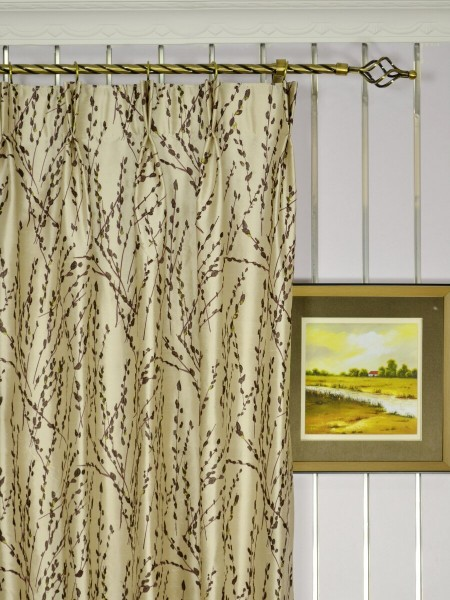 Halo Trendy Embroidered Plants Dupioni Silk Custom Made Curtains (Heading: Double Pinch Pleat)