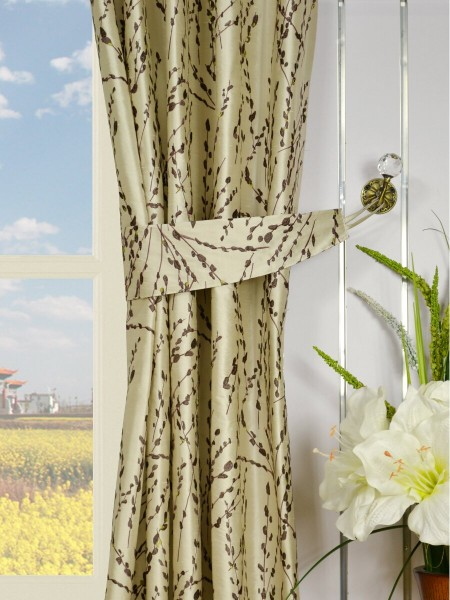 Halo Trendy Embroidered Plants Double Pinch Pleat Dupioni Silk Curtains Decorative Tiebacks