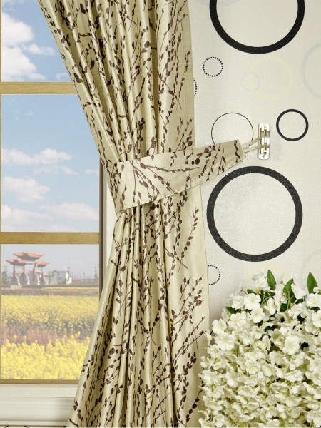 Halo Trendy Embroidered Plants Rod Pocket Dupioni Silk Curtains Decorative Tiebacks