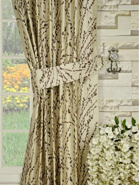 Halo Trendy Embroidered Plants Back Tab Dupioni Silk Curtains Decorative Tiebacks