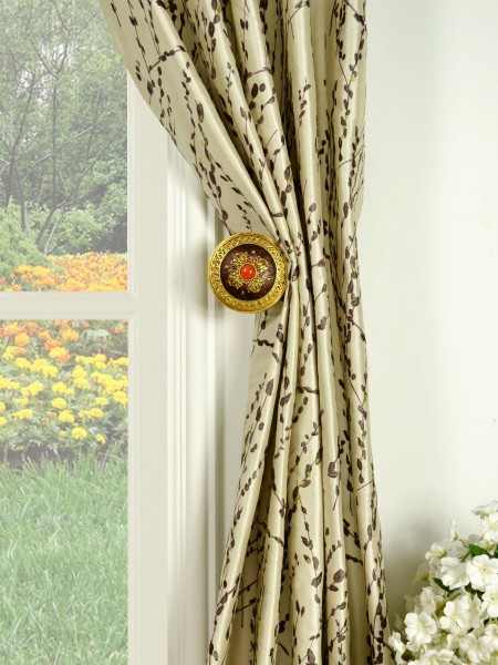 Halo Trendy Embroidered Plants Triple Pinch Pleat Dupioni Silk Curtains Holdbacks