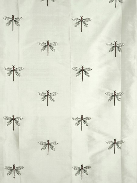 Halo Embroidered Dragonflies Back Tab Dupioni Silk Curtains (Color: Eggshell)