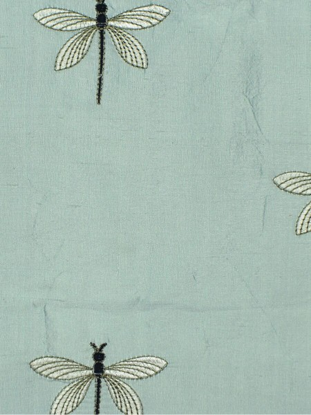 Halo Embroidered Dragonflies Rod Pocket Dupioni Silk Curtains (Color: Magic mint)