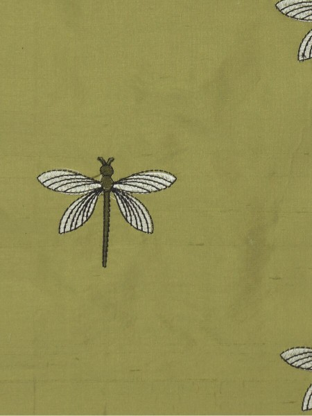 Halo Embroidered Dragonflies Back Tab Dupioni Silk Curtains (Color: Olive)