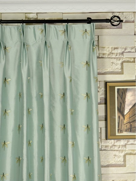 Halo Embroidered Dragonflies Double Pinch Pleat Dupioni Silk Curtains Heading Style