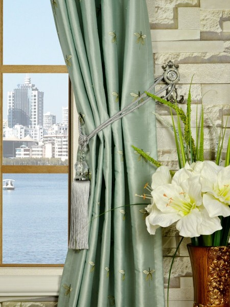 Halo Embroidered Dragonflies Double Pinch Pleat Dupioni Silk Curtains Tassel Tiebacks