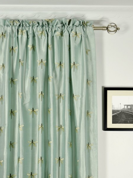 Halo Embroidered Dragonflies Rod Pocket Dupioni Silk Curtains Heading Style