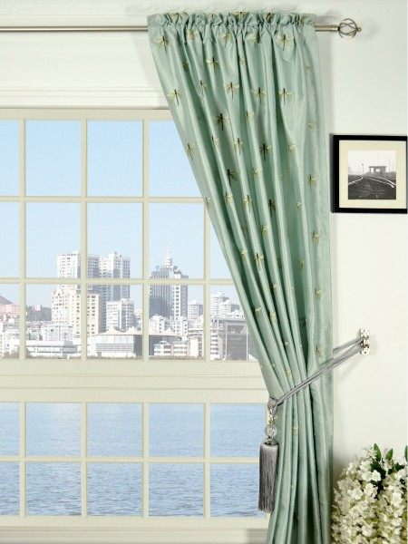 Halo Embroidered Dragonflies Rod Pocket Dupioni Silk Curtains