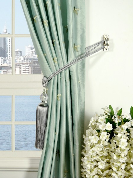 Halo Embroidered Dragonflies Rod Pocket Dupioni Silk Curtains Tassel Tiebacks