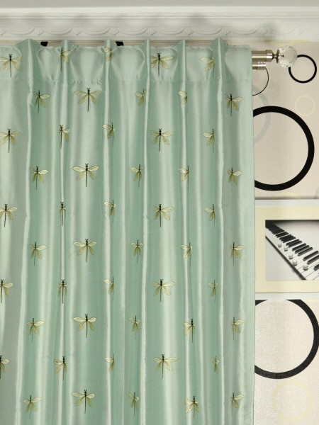 Halo Embroidered Dragonflies Back Tab Dupioni Silk Curtains Heading Style