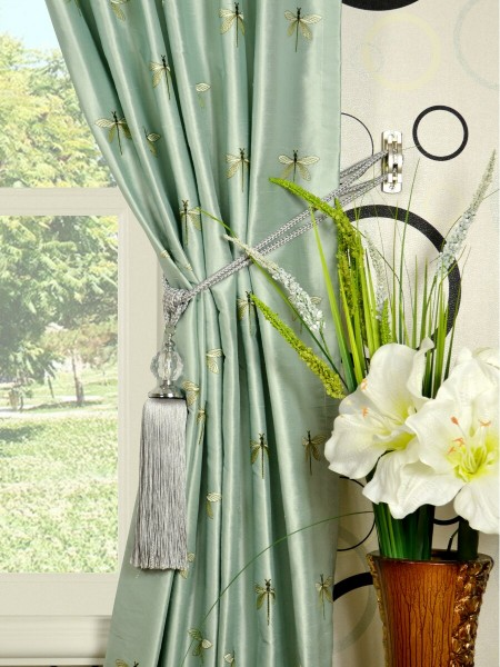 Halo Embroidered Dragonflies Back Tab Dupioni Silk Curtains Tassel Tiebacks