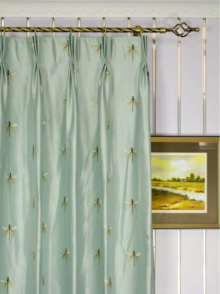 Halo Embroidered Dragonflies Triple Pinch Pleat Dupioni Silk Curtains Heading Style