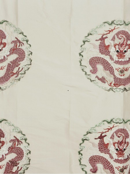 Halo Embroidered Chinese-inspired Dragon Motif Dupioni Silk Custom Made Curtains (Color: Linen)