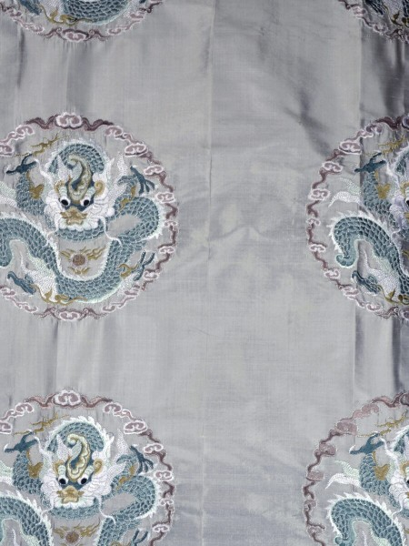 Halo Embroidered Chinese-inspired Dragon Motif Dupioni Silk Custom Made Curtains (Color: Ash grey)