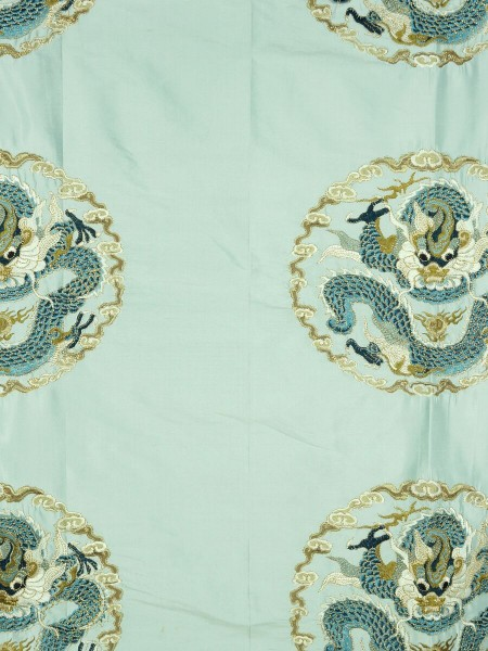 Halo Embroidered Chinese-inspired Dragon Motif Dupioni Silk Custom Made Curtains (Color: Magic mint)