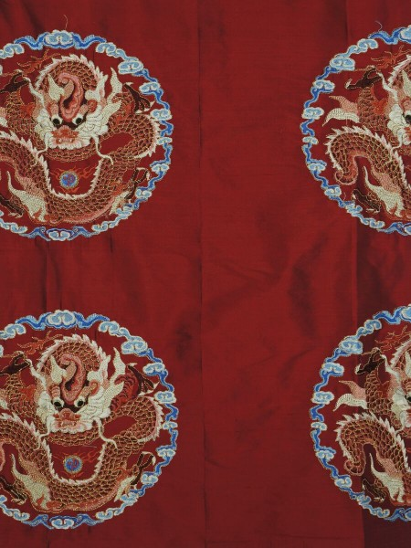 Halo Embroidered Chinese-inspired Dragon Motif Dupioni Silk Custom Made Curtains (Color: Burgundy)