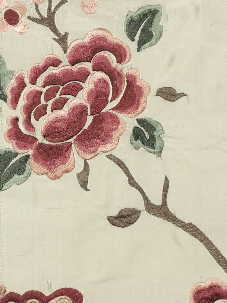 Halo Embroidered Hollyhocks Grommet Dupioni Silk Curtains (Color: Linen)