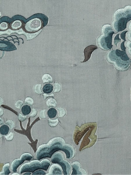 Halo Embroidered Hollyhocks Tab Top Dupioni Silk Curtains (Color: Ash grey)