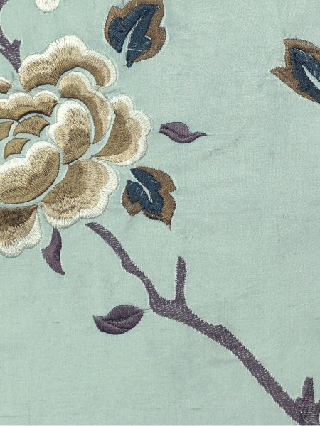 Halo Embroidered Hollyhocks Tab Top Dupioni Silk Curtains (Color: Magic mint)