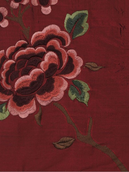 Halo Embroidered Hollyhocks Tab Top Dupioni Silk Curtains (Color: Burgundy)