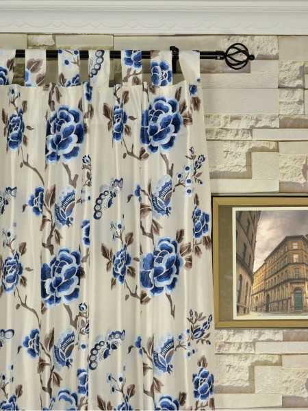 Halo Embroidered Hollyhocks Tab Top Dupioni Silk Curtains Heading Style