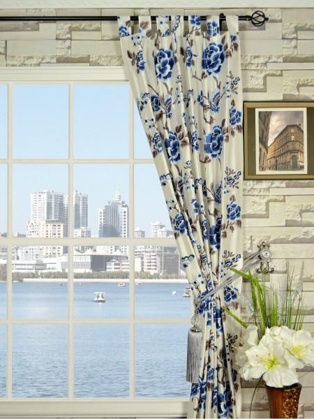 Halo Embroidered Hollyhocks Tab Top Dupioni Silk Curtains