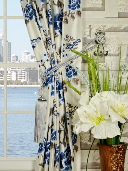 Halo Embroidered Hollyhocks Tab Top Dupioni Silk Curtains Tassel Tiebacks
