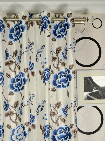Halo Embroidered Hollyhocks Grommet Dupioni Silk Curtains Heading Style