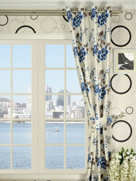 Halo Embroidered Hollyhocks Grommet Dupioni Silk Curtains