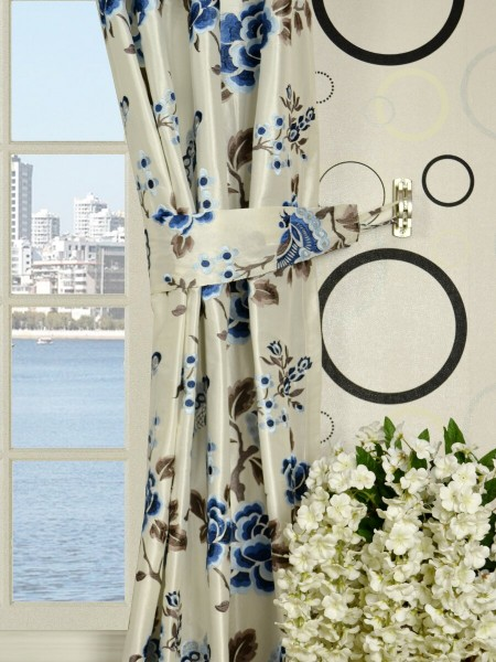 Halo Embroidered Hollyhocks Grommet Dupioni Silk Curtains Decorative Tiebacks