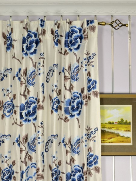 Halo Embroidered Hollyhocks Dupioni Silk Custom Made Curtains (Heading: Back Tab)