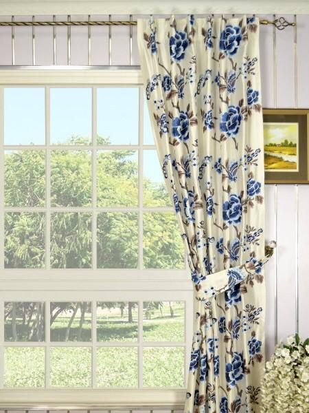 Halo Embroidered Hollyhocks Back Tab Dupioni Silk Curtains