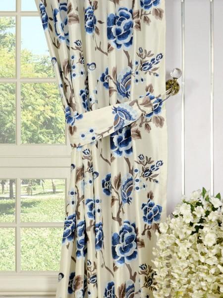 Halo Embroidered Hollyhocks Back Tab Dupioni Silk Curtains Decorative Tiebacks
