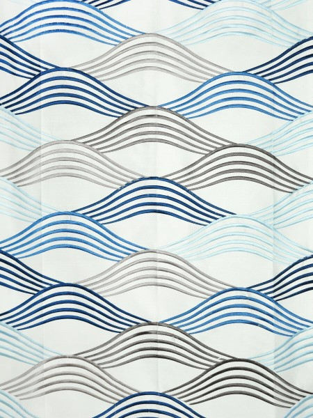 Halo Embroidered Ripple-shaped Dupioni Silk Fabric Sample (Color: Ivory)