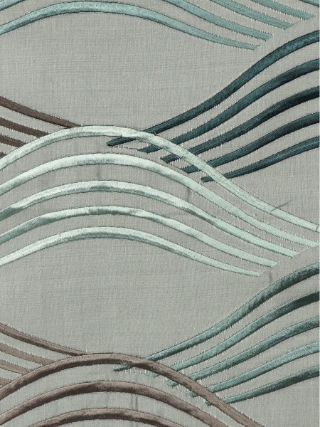 Halo Embroidered Ripple-shaped Dupioni Silk Fabric Sample (Color: Ash grey)