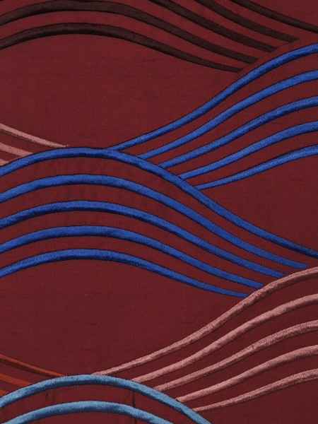 Halo Embroidered Cranes Dupioni Silk Fabric Sample (Color: Burgundy)