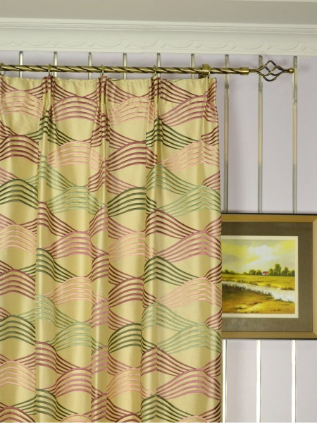 Halo Embroidered Ripple-shaped Dupioni Silk Custom Made Curtains (Heading: Versatile Pleat)