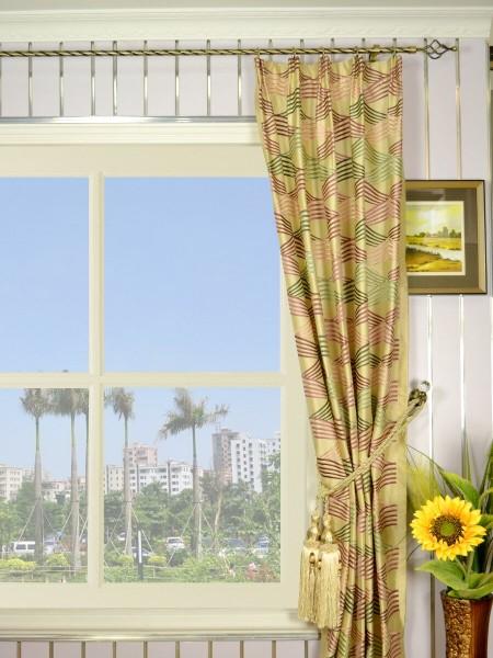 Halo Embroidered Ripple-shaped Versatile Pleat Dupioni Silk Curtains