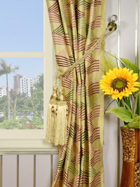 Halo Embroidered Ripple-shaped Versatile Pleat Dupioni Silk Curtains Tassel Tiebacks