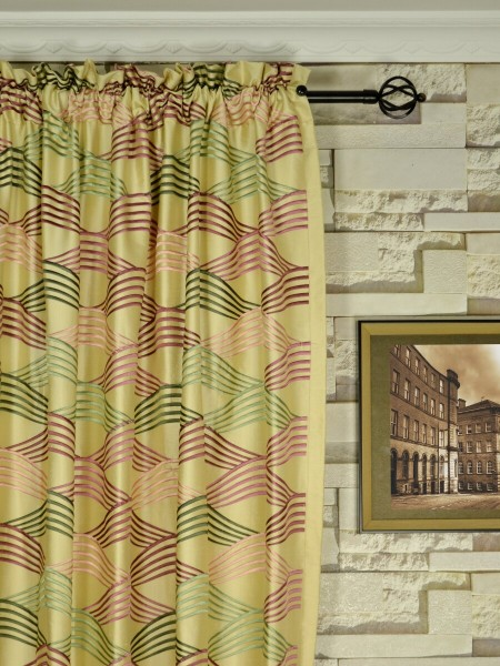Halo Embroidered Ripple-shaped Dupioni Silk Custom Made Curtains (Heading: Rod Pocket)