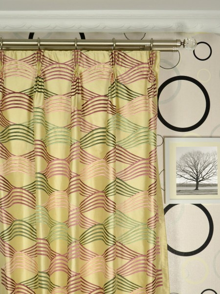 Halo Embroidered Ripple-shaped Dupioni Silk Custom Made Curtains (Heading: Triple Pinch Pleat)
