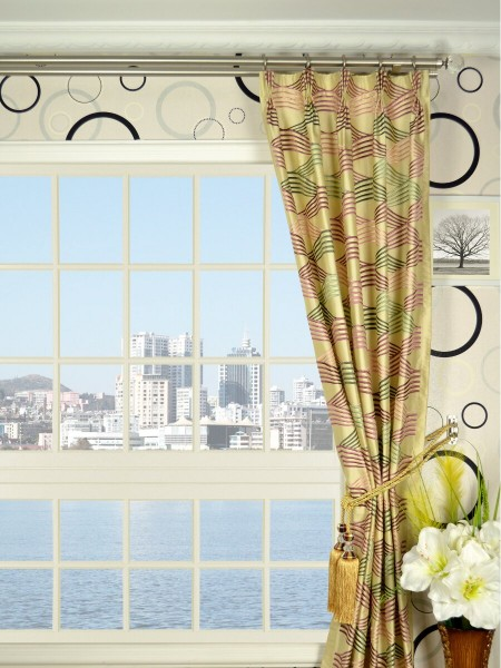 Halo Embroidered Ripple-shaped Triple Pinch Pleat Dupioni Silk Curtains