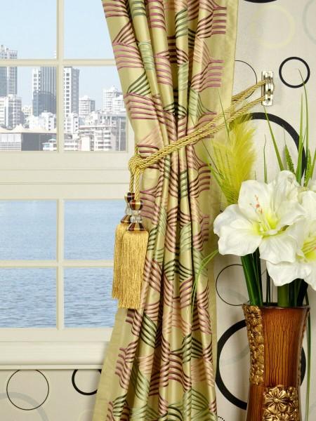 Halo Embroidered Ripple-shaped Triple Pinch Pleat Dupioni Silk Curtains Tassel Tiebacks