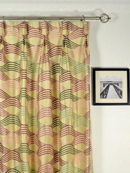 Halo Embroidered Ripple-shaped Dupioni Silk Custom Made Curtains (Heading: Goblet Pleat)