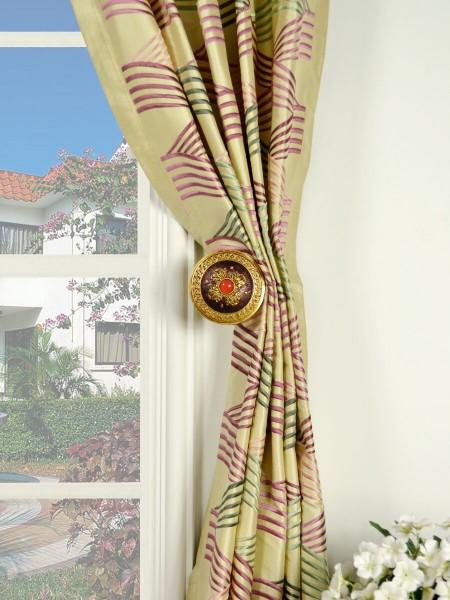 Halo Embroidered Ripple-shaped Goblet Dupioni Silk Curtains Holdbacks